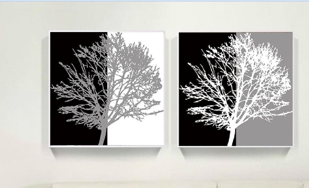 高清黑白灰创意树中式抽象树双联无框画