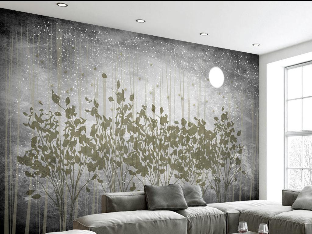 手绘灰色风景欧式电视背景墙欧式花纹背景墙欧式风格