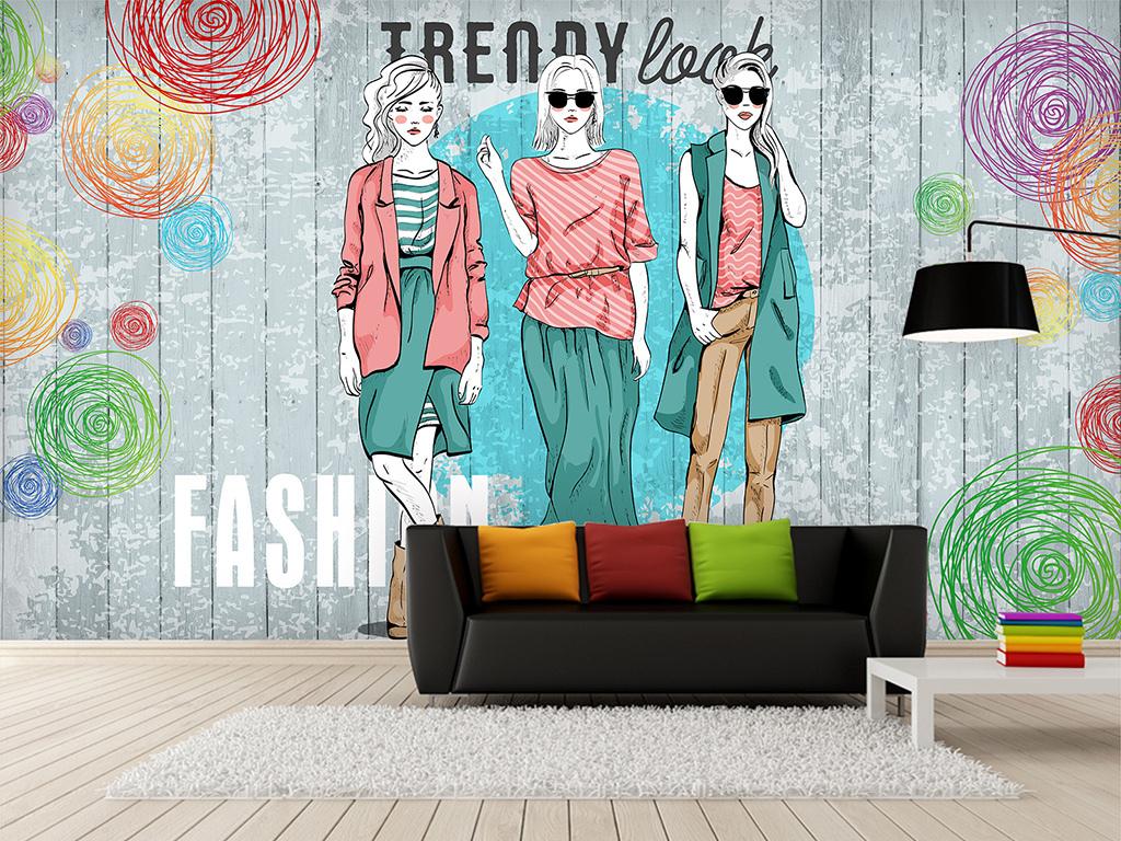 复古大型壁画手绘时尚少女服装背景墙