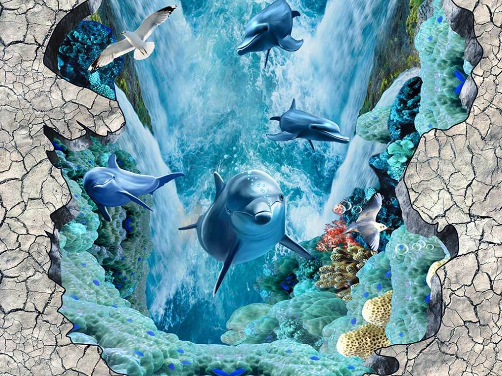 海洋世界海豚立体地画