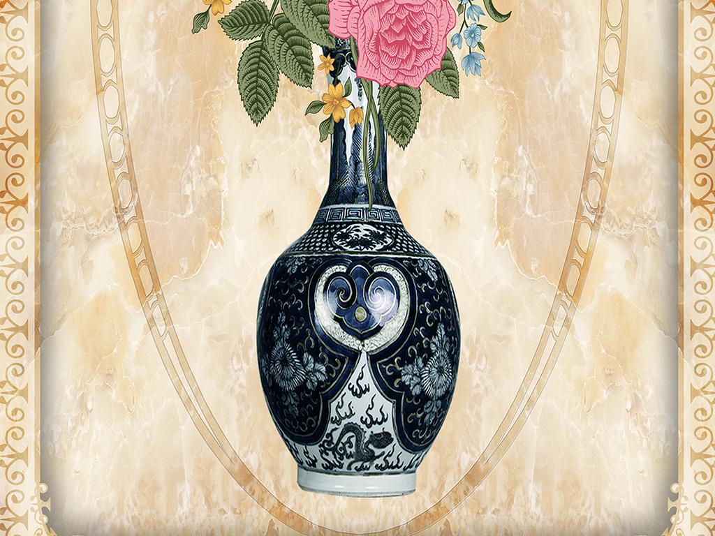 大理玄关石纹过道欧式牡丹欧式玫瑰欧式花瓶