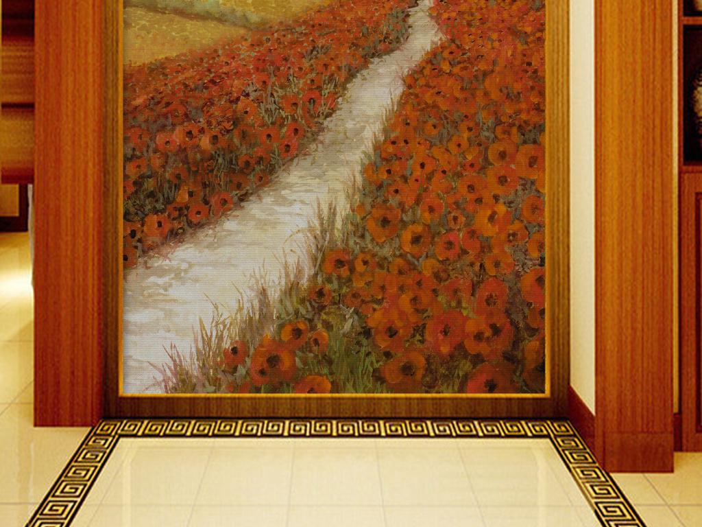 手绘油画风景小路壁纸玄关