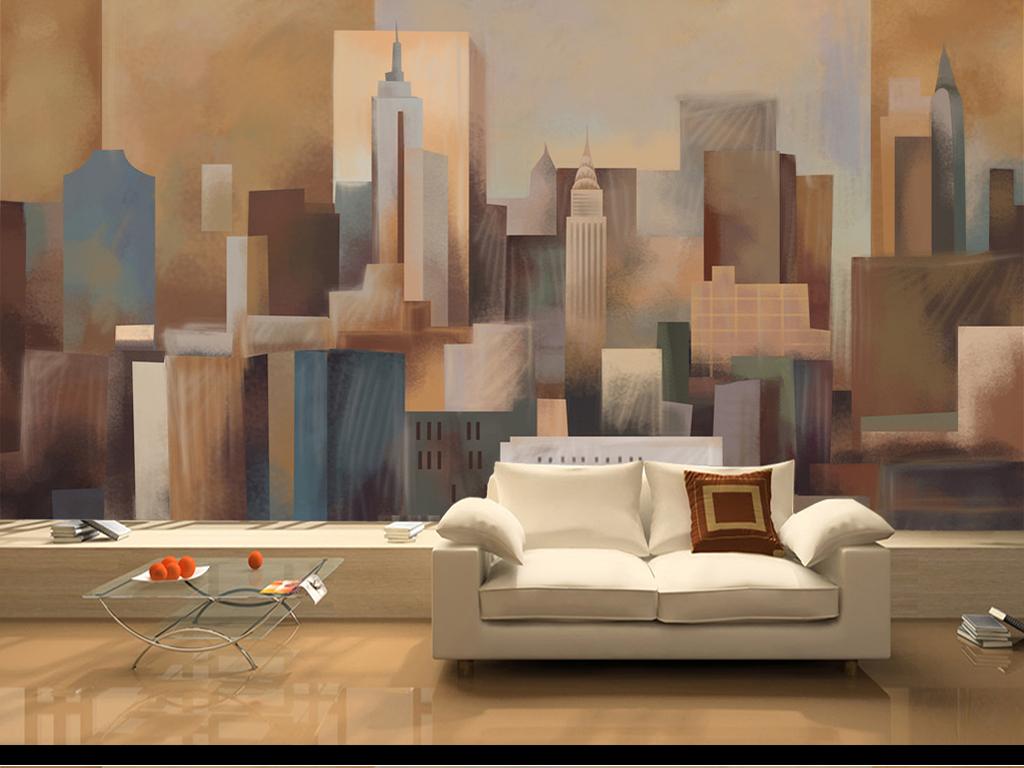 沙发墙手绘建筑壁纸
