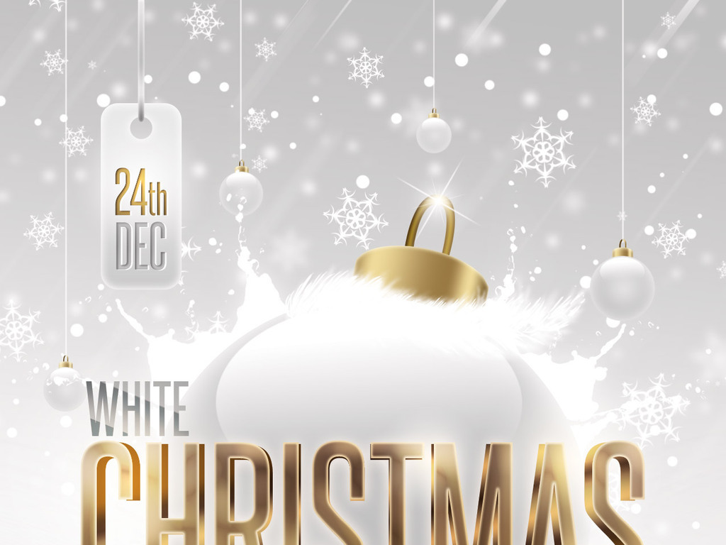 白色圣诞节活动海报psd模板