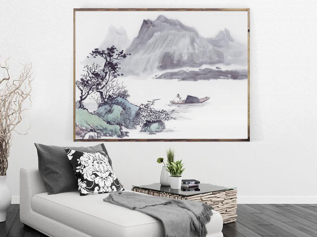 中国风山水画装饰画唯美下载