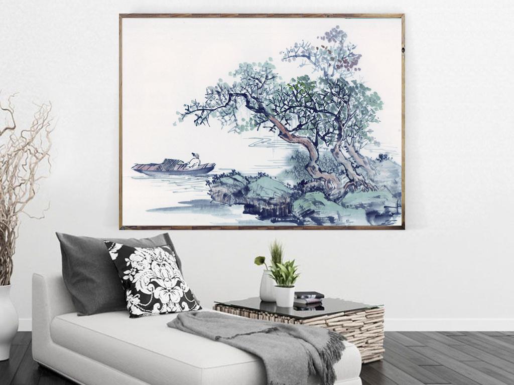 新中式唯美山水画装饰画下载图片