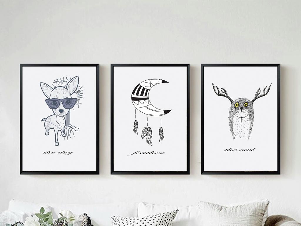 背景墙|装饰画 无框画 动物图案无框画 > 现代黑白简约手绘动物无框画