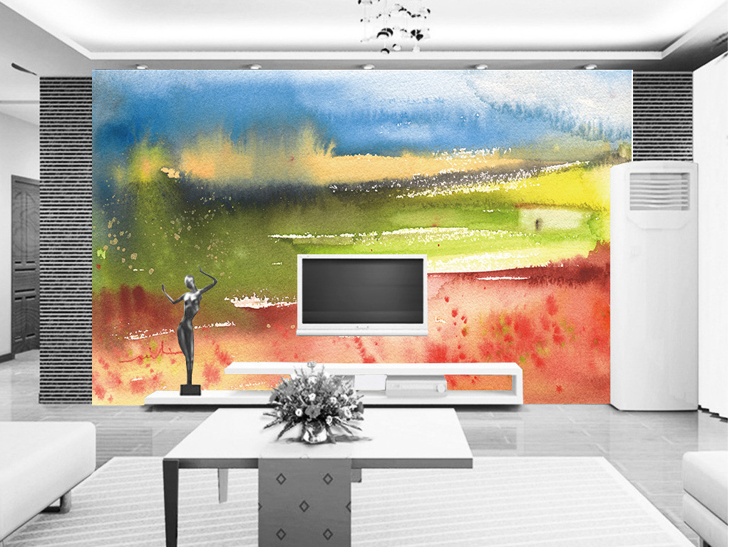 抽象水彩画背景墙(图片编号:15796531)
