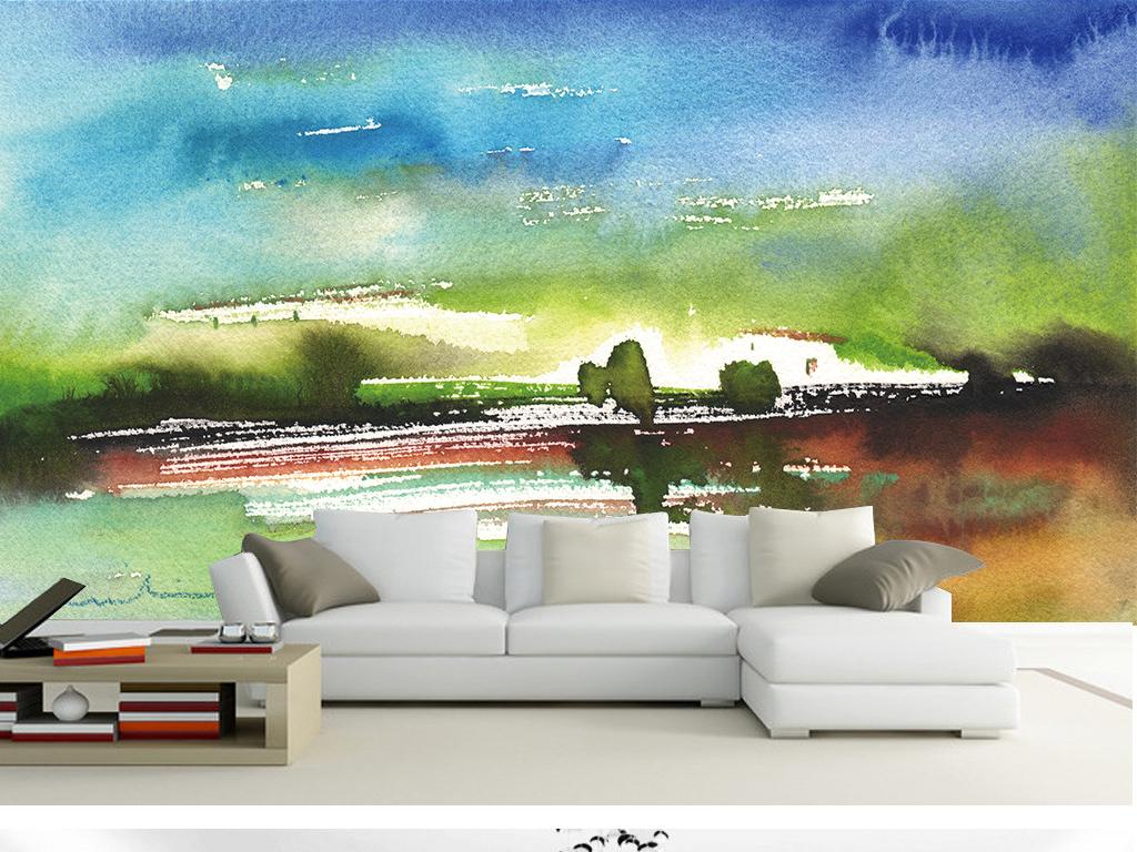抽象山水风景水彩画背景墙(图片编号:15796548)