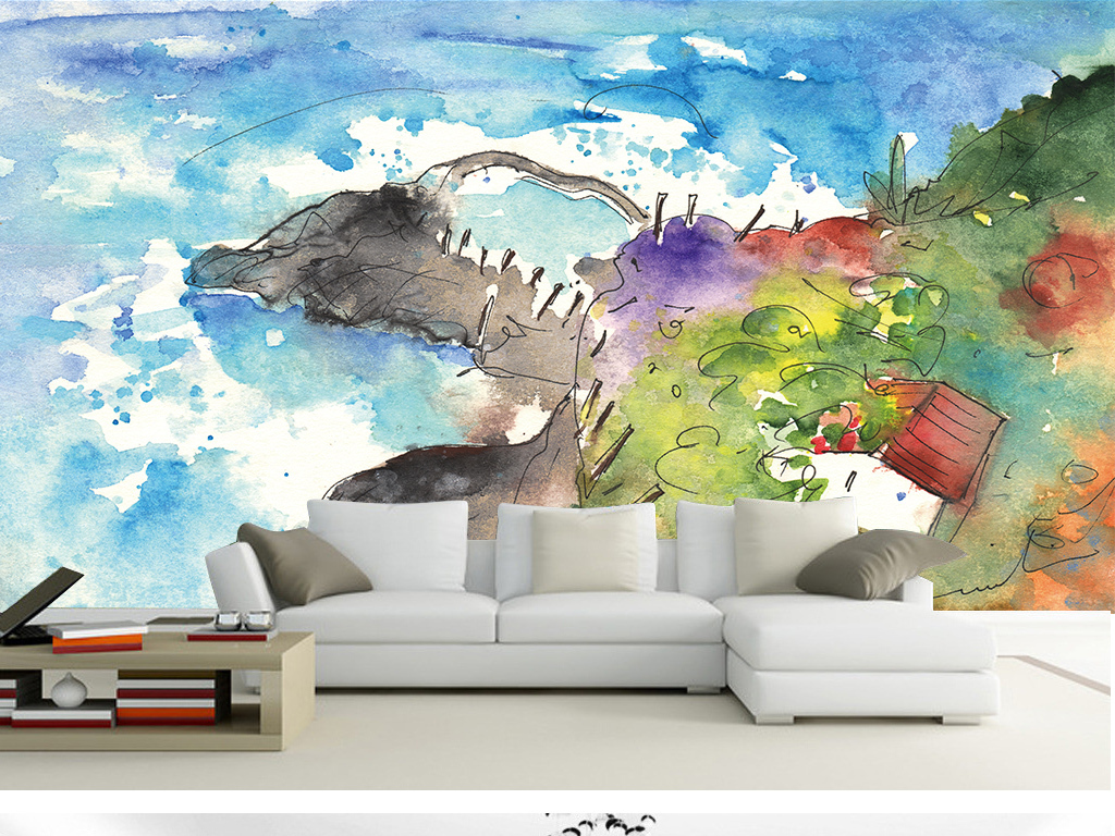 欧式地中海壁纸贴图