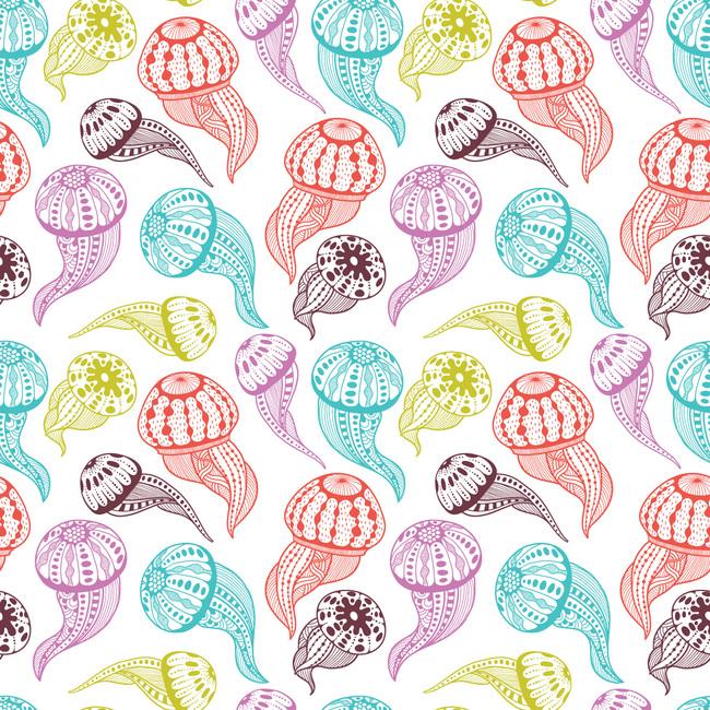 3款卡通彩色水母无缝背景图案矢量