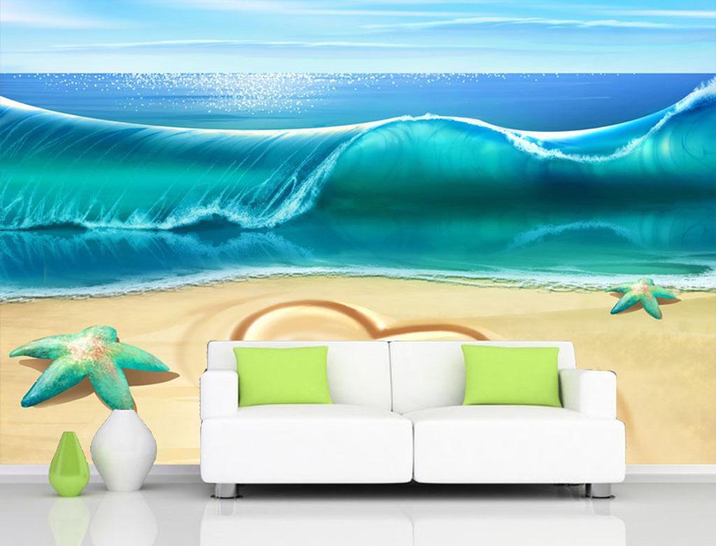高清手绘海浪沙滩背景墙电视墙装饰画