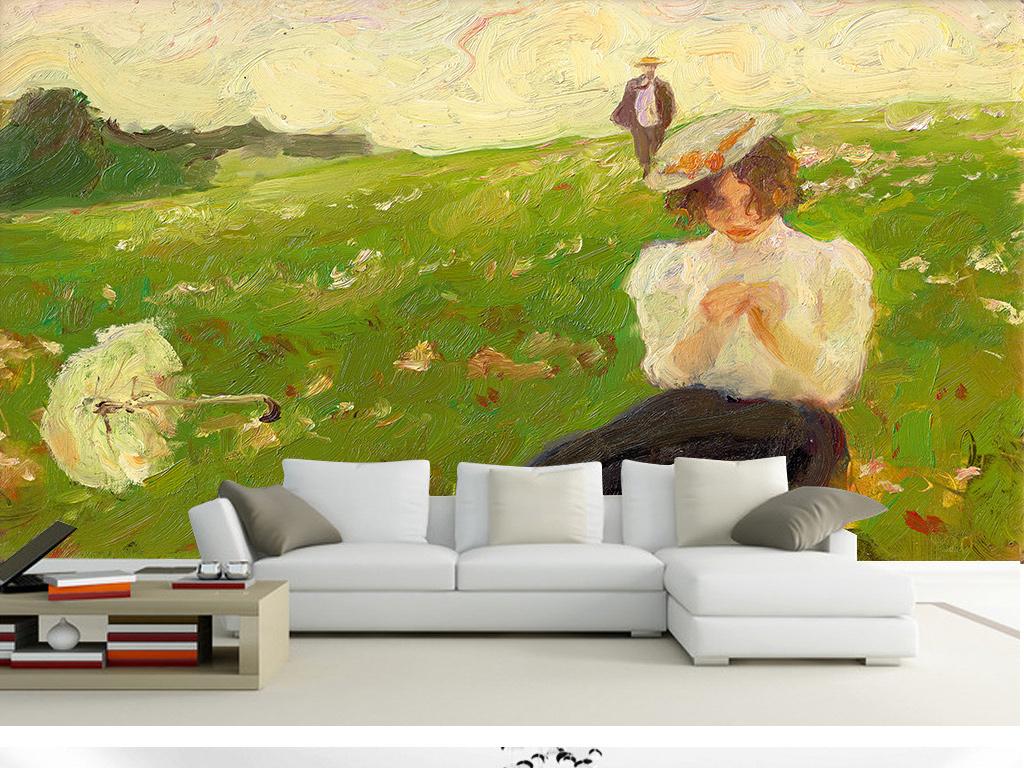 唯美绿色草地人物油画背景墙