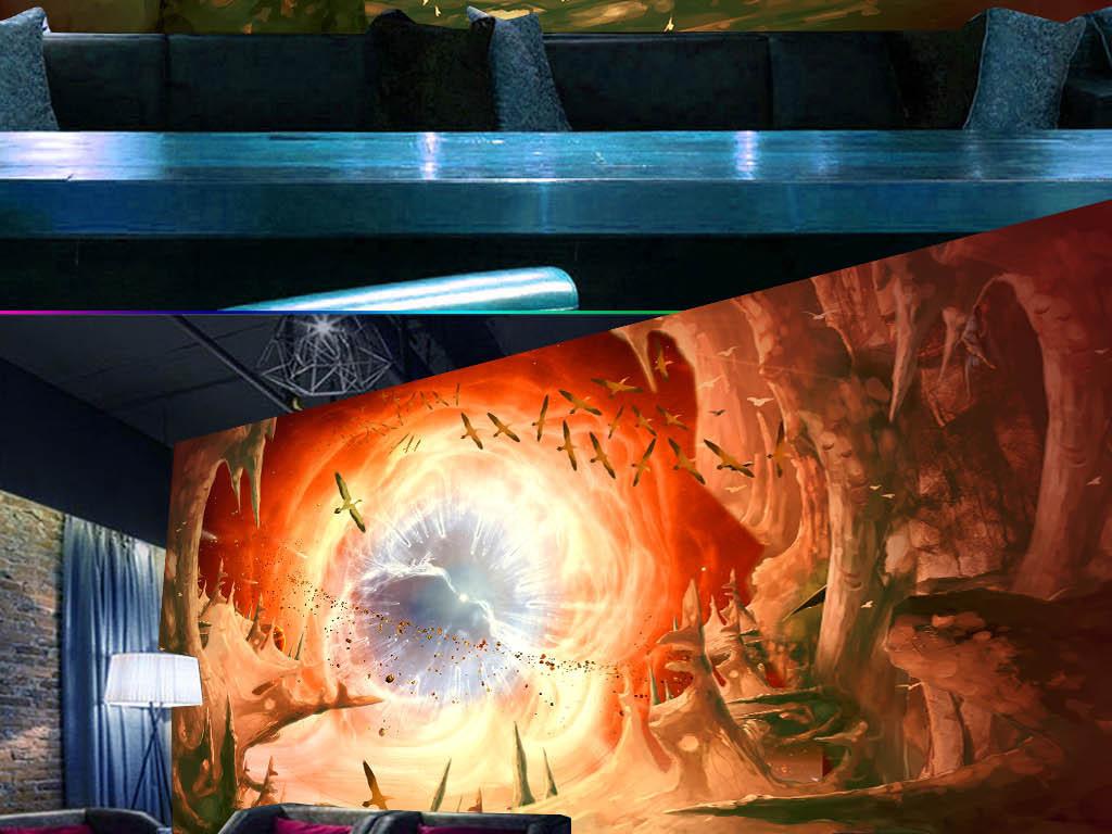石头震撼商场地贴宇宙星空立体模板下载星空宇宙3d立