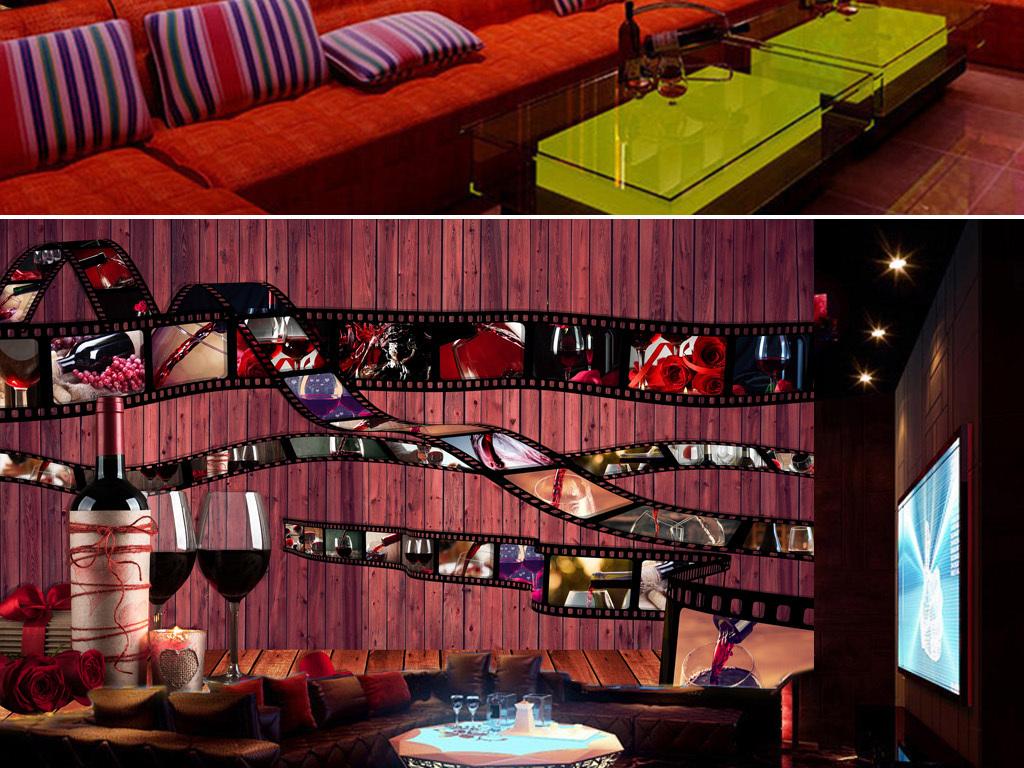 背景墙|装饰画 工装背景墙 酒吧|ktv装饰背景墙 > 胶卷红酒木板背景墙