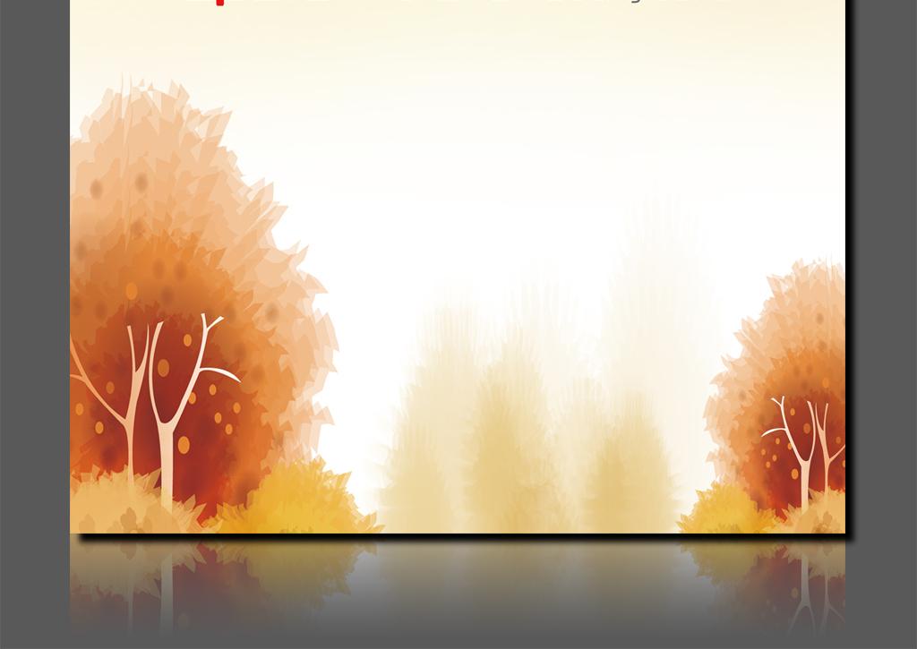 金黄色秋天信纸海报招贴背景设计模板