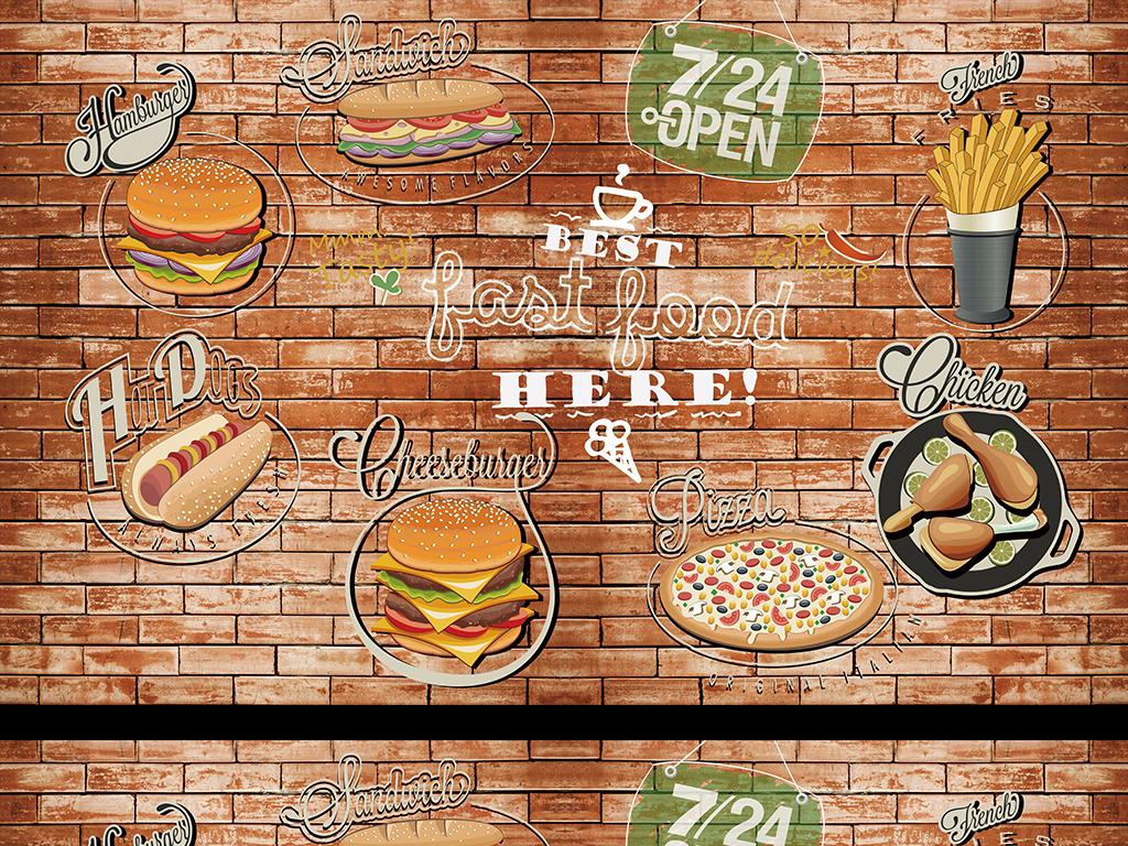 画餐饮背景墙fastfood砖墙工装工装背景墙手绘背景西餐砖墙背景工装
