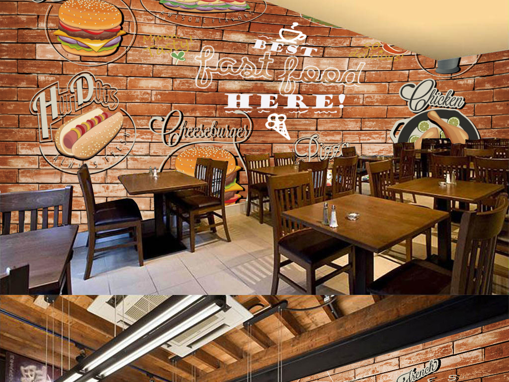 工装背景西餐背景汉堡背景快餐店菜谱快餐店单张美味