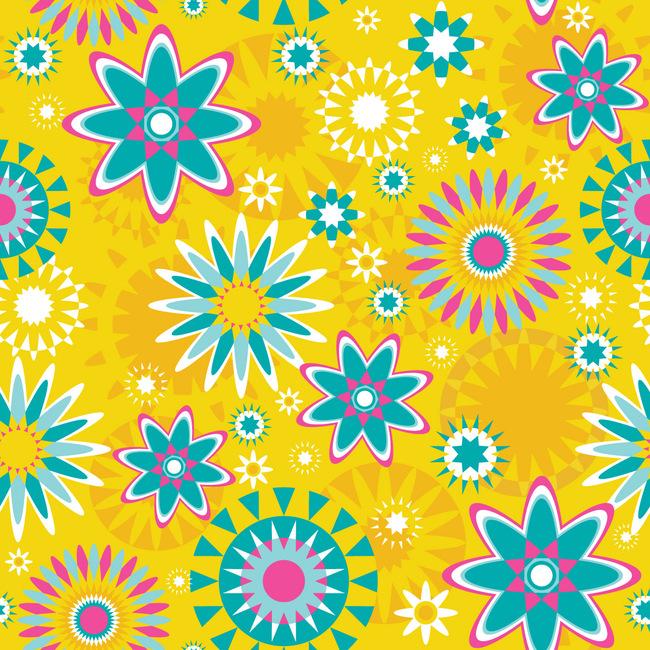 4款可爱卡通花朵图案无缝背景图矢量