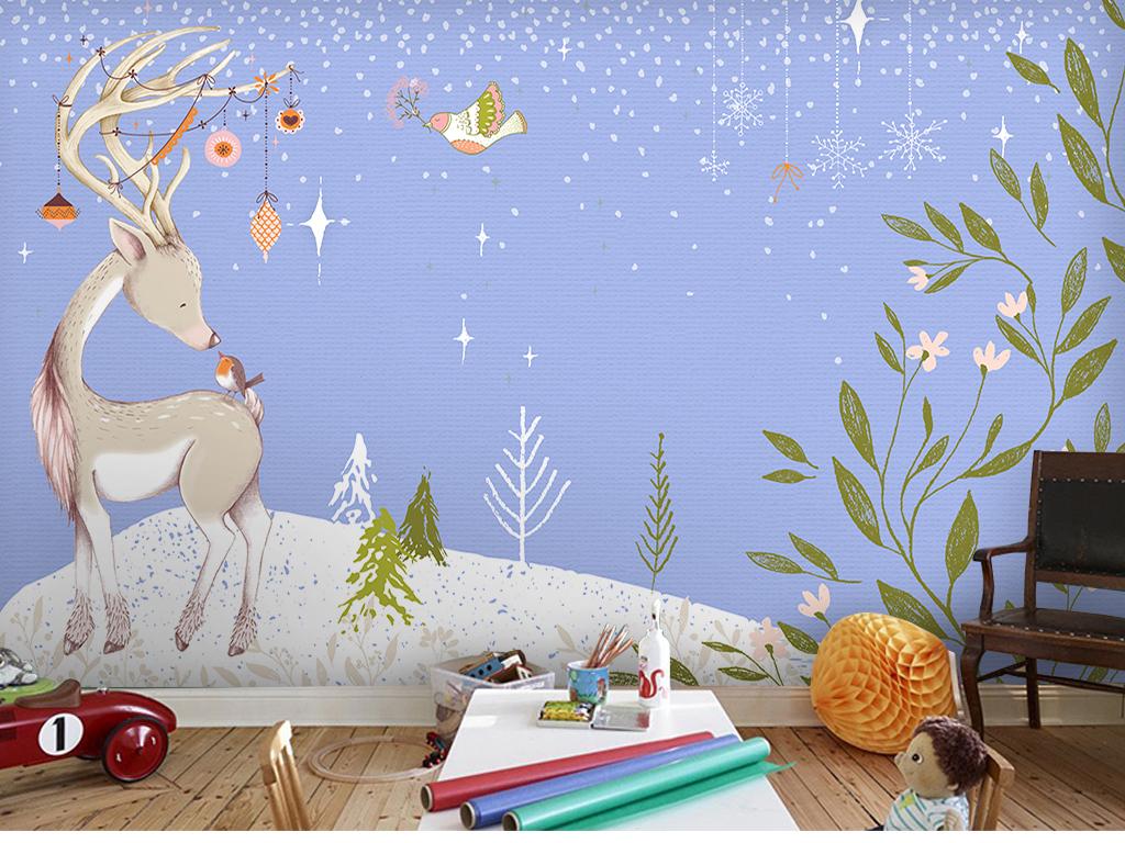 水彩可爱卡通背景墙(图片编号:15799400)_儿童房背景
