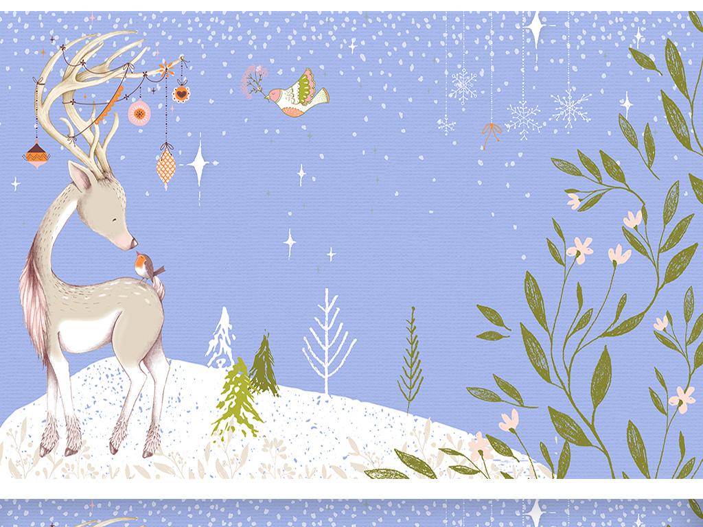 小鹿鹿森林圣诞节手绘