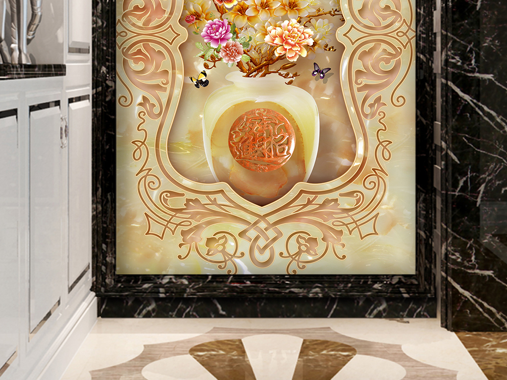 玉雕花瓶福字发财树花纹3d玄关背景墙