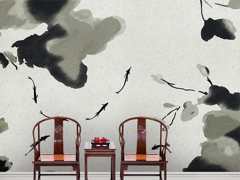 中式手绘水墨鱼禅意荷花背景墙装饰画