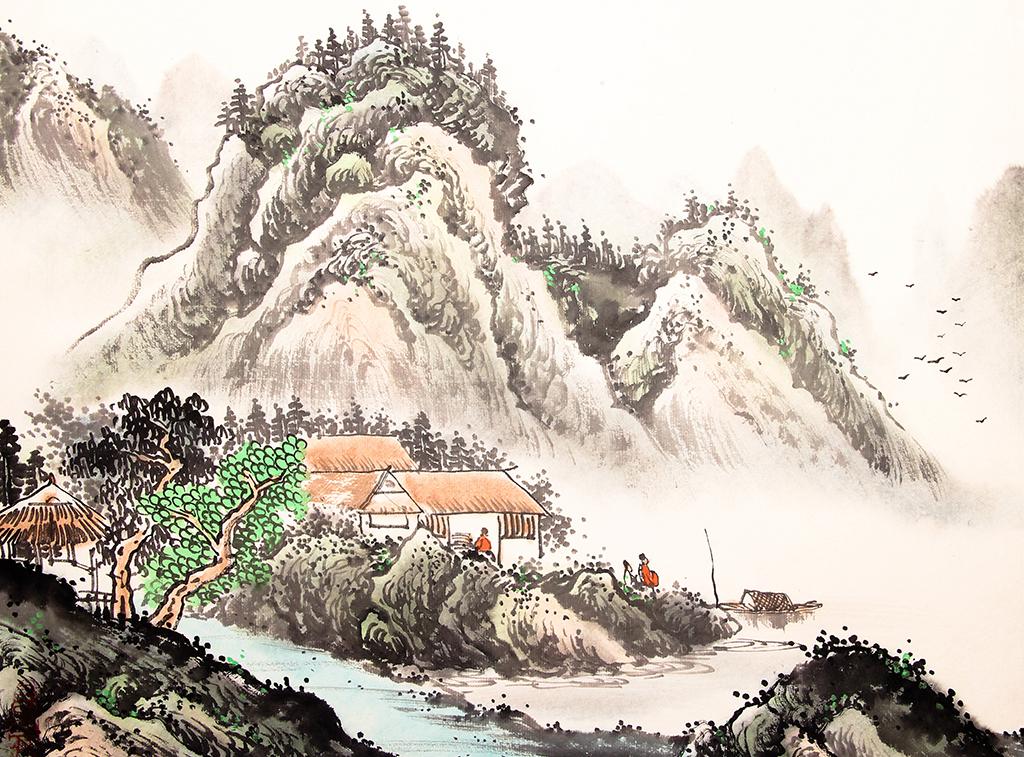 水墨山水风景画背景