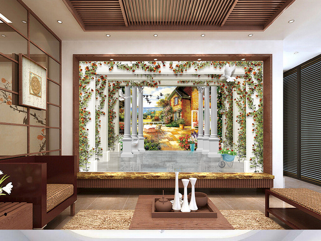 墙欧式地面砖飞鸟电视背景罗马柱背景空间背景欧洲