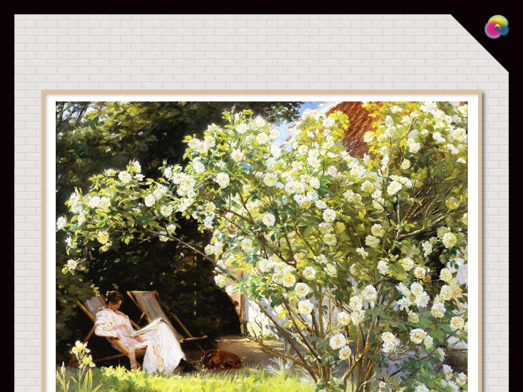 欧式复古手绘田园油画风景电视背景墙装饰画