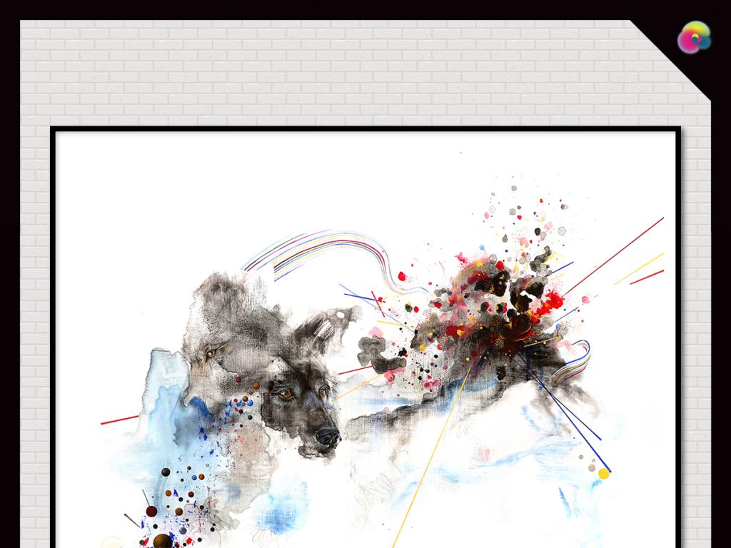 代简约手绘高清涂鸦抽象油画装饰画图片