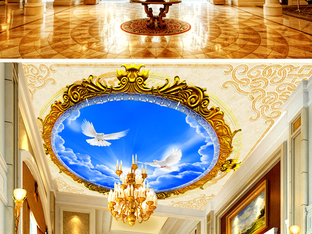 酒店大堂壁画吊顶宾馆吊顶天顶画卧室背景墙酒吧蓝天白云欧式花边欧式图片