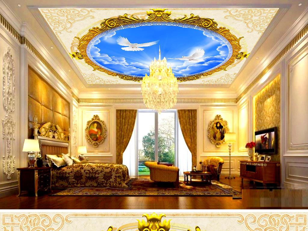 欧式古典蓝天白云天顶壁画(图片编号:15801006)