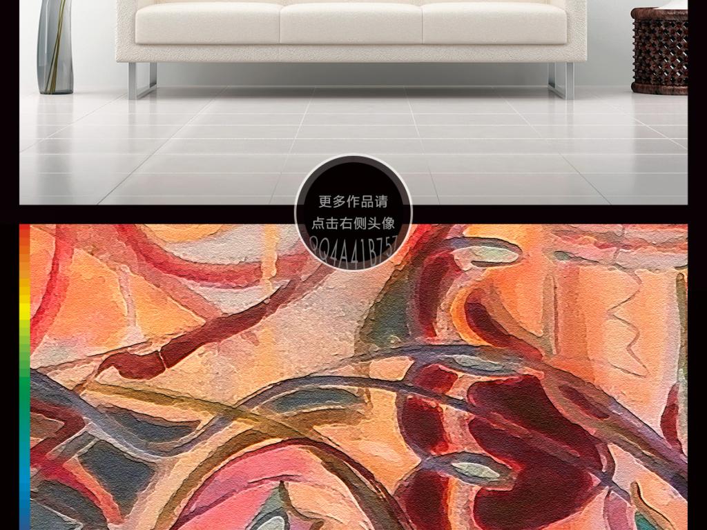 手绘抽象几何线条油画玄关背景墙装饰画