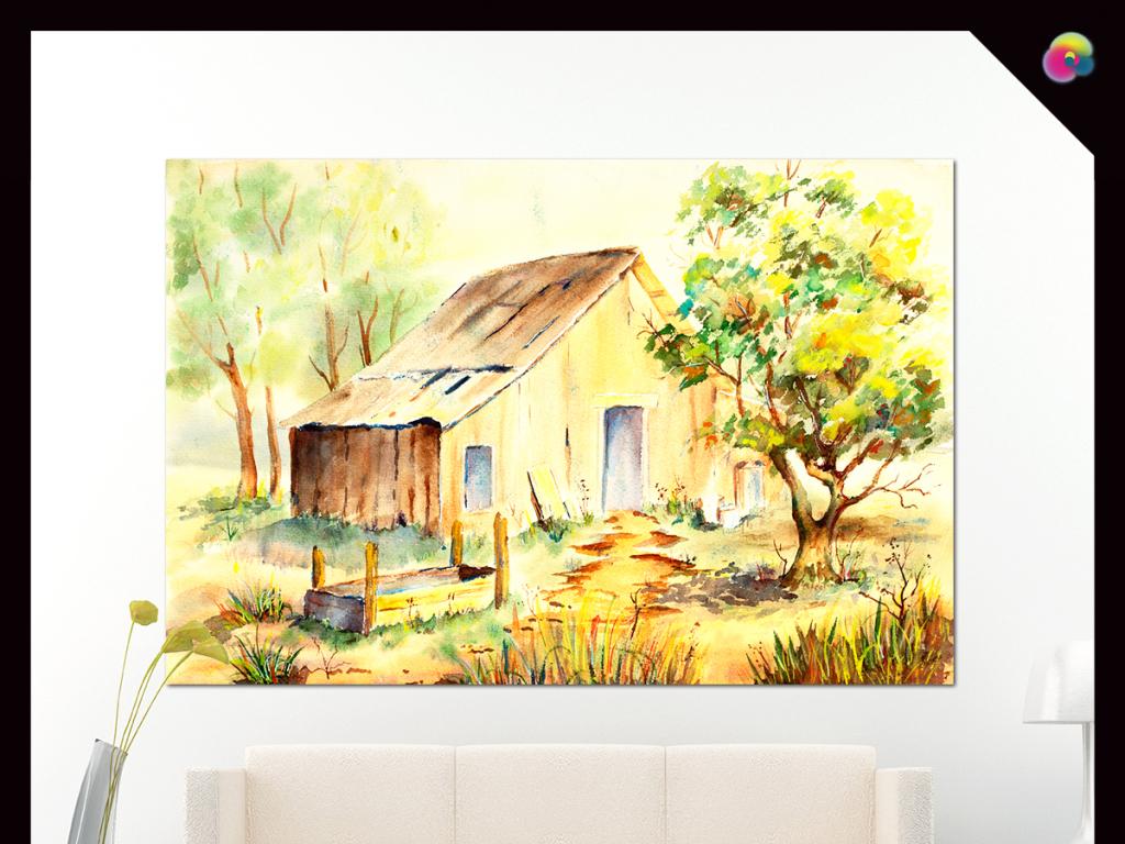 北欧风格手绘高清乡村风景室内装饰画