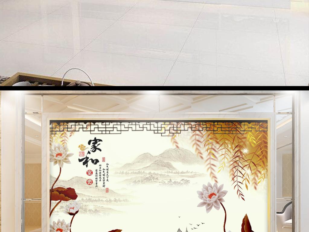 背景墙 电视背景墙 中式电视背景墙 > 手绘荷花垂柳江南春中式背景墙
