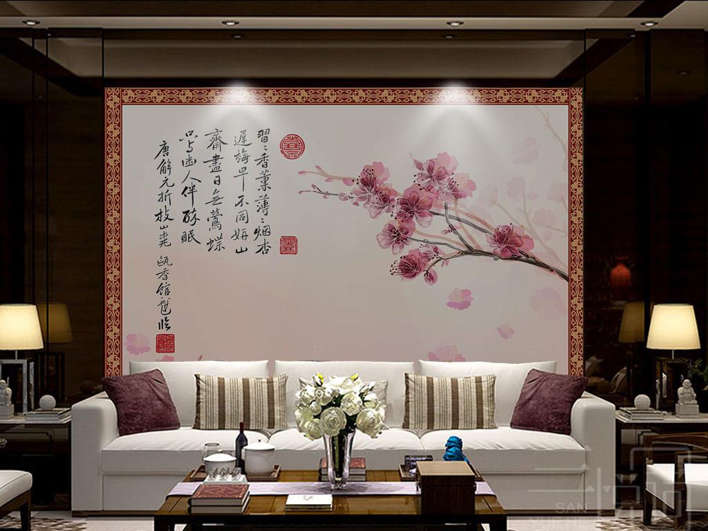 背景墙|装饰画 墙纸 中式墙纸 > 中式桃花墙纸  版权图片 分享