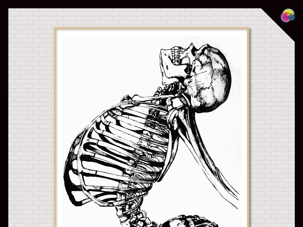 手绘时尚黑白素描骷髅头抽象插画油画图片