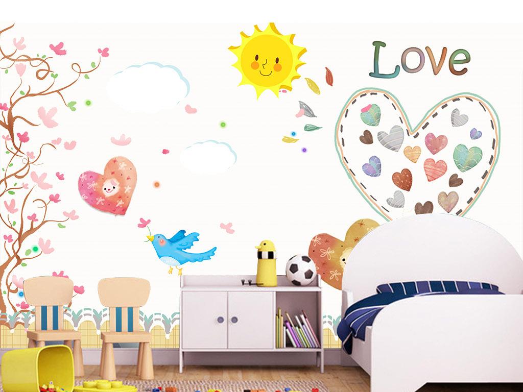 幼儿园背景墙简约风格模板下载梦幻卡通儿童房壁画背