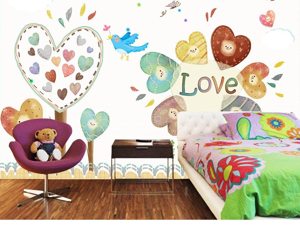 幼儿园背景墙简约风格模板梦幻卡通儿童房壁画背景墙