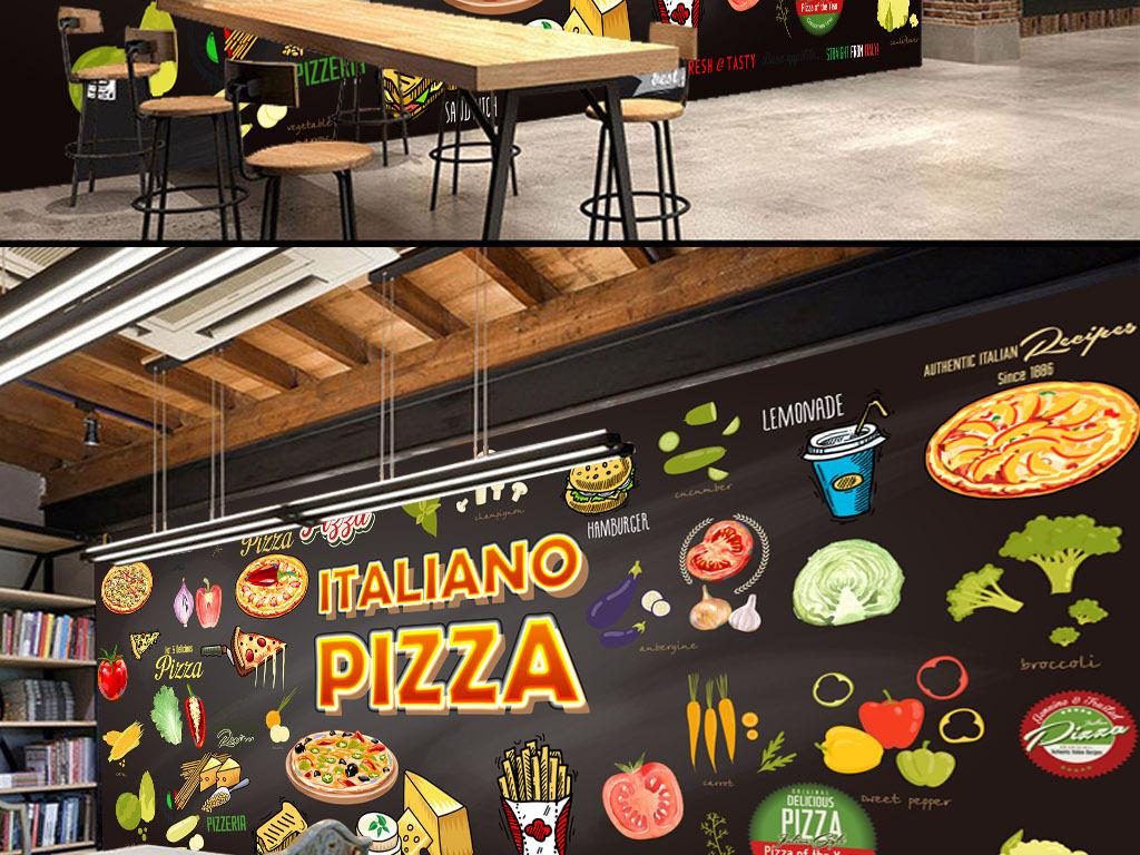 原创高清手绘西餐厅背景墙壁画
