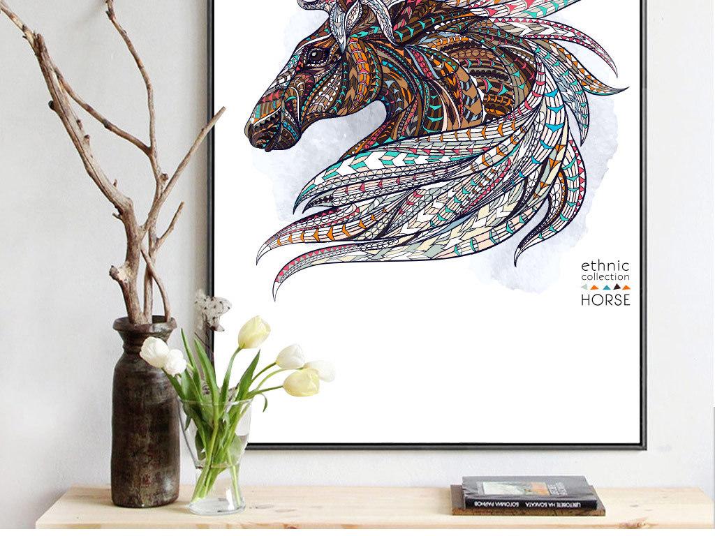 现代简约抽象手绘马装饰画无框画