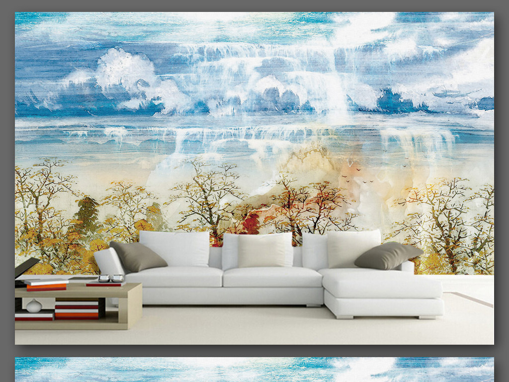 大理石纹理风景背景墙手绘油画风格9