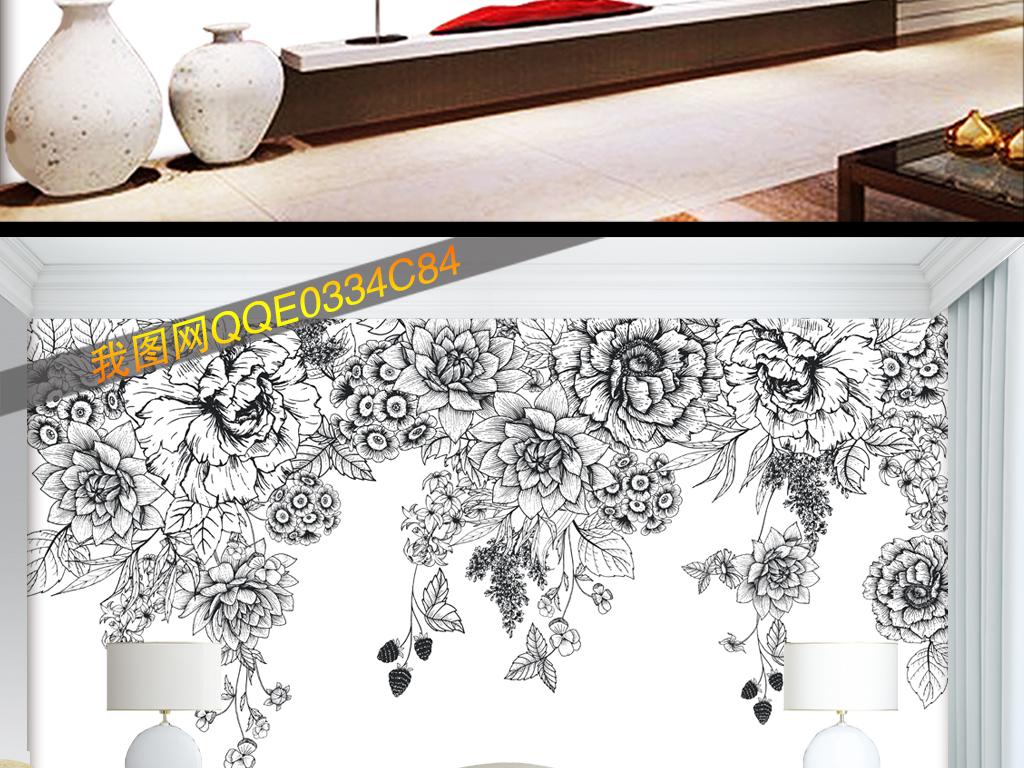 现代简约手绘黑白花卉牡丹玫瑰壁纸背景墙