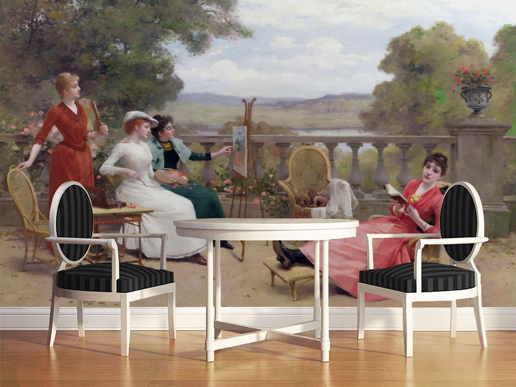 欧式古典人物油画画画的美女电视背景墙