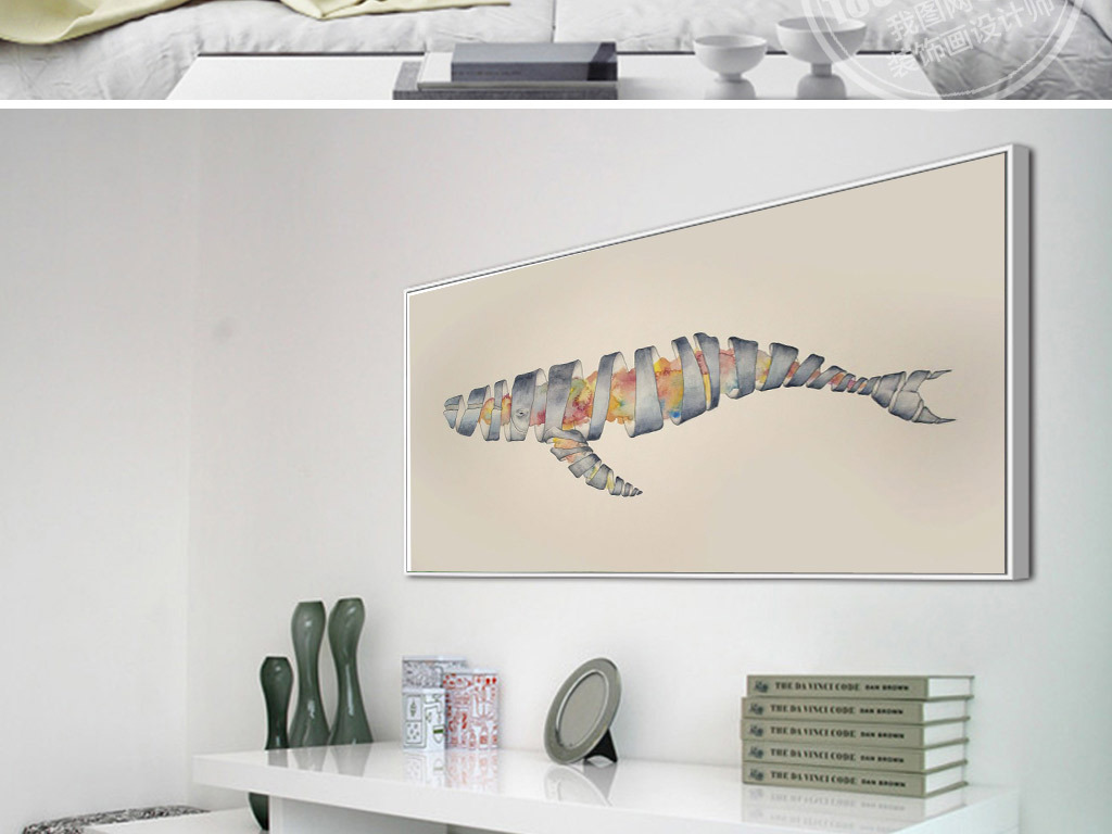 小清新手绘鲸鱼无框画