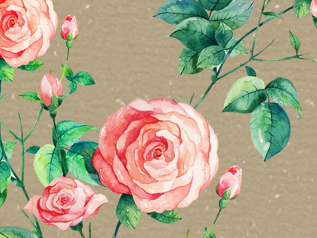 中式手绘工笔花背景装饰画