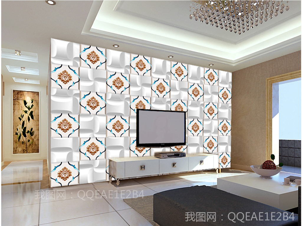 3d立体方块刺绣欧式现代电视背景墙