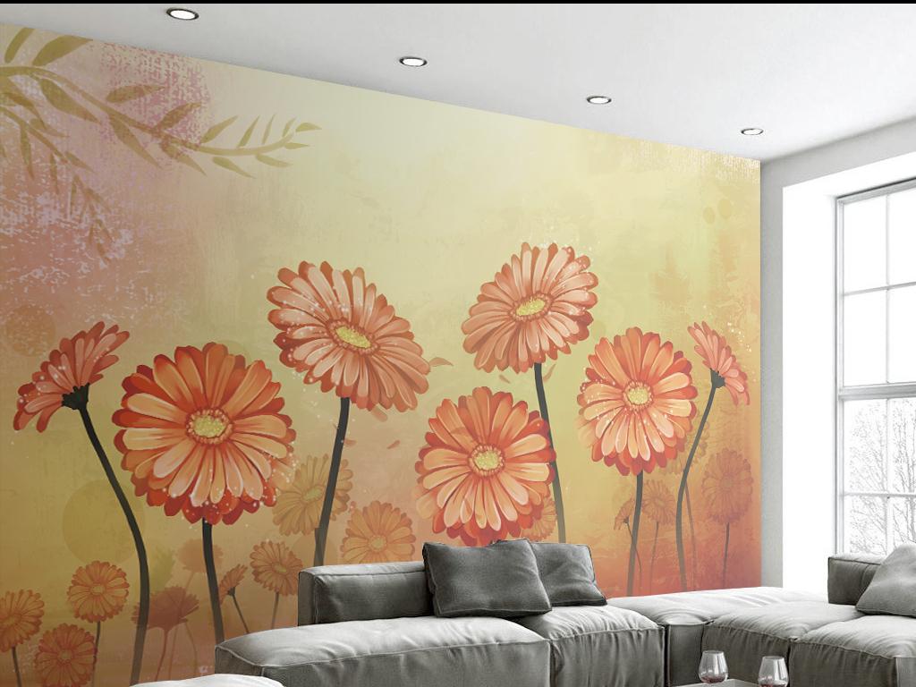 手绘简约温馨花卉背景墙