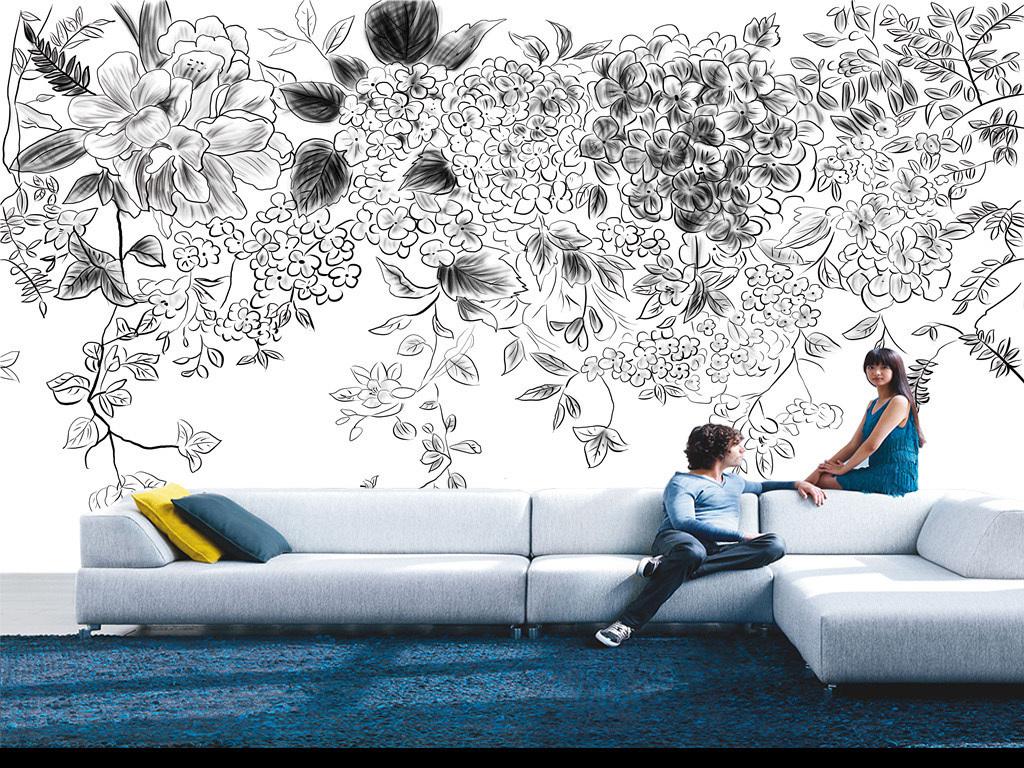 简约唯美手绘线条黑白花朵背景墙图片设计素材_高清(.